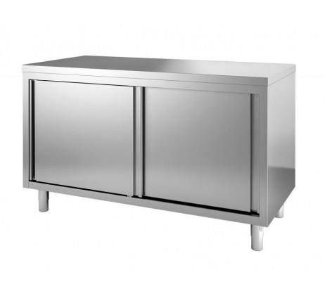TABLE ARMOIRE INOX PORTE COLISSANTE P800