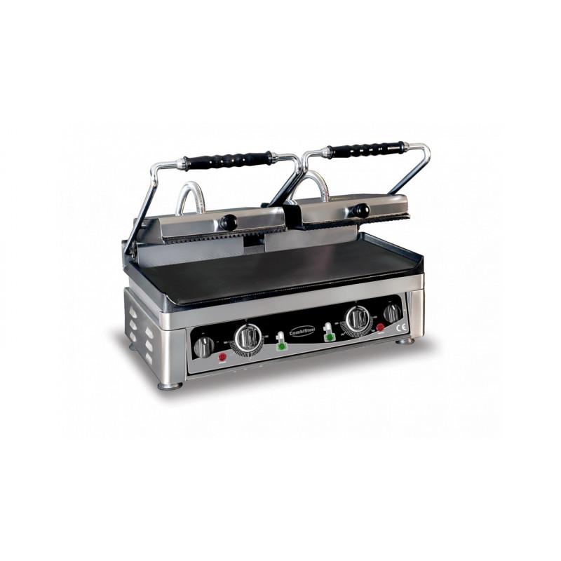 Grill panini semi lisse semi rainuré nervuré double 560X440 mm