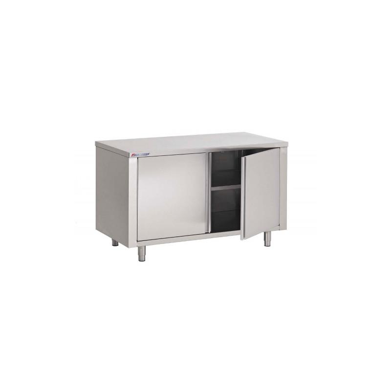 TABLE ARMOIRE INOX, PORTES BATTANTES, L 800 MM / P 600 MM