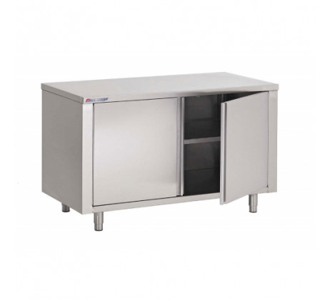 TABLE ARMOIRE INOX, PORTES BATTANTES, L 1400 MM...