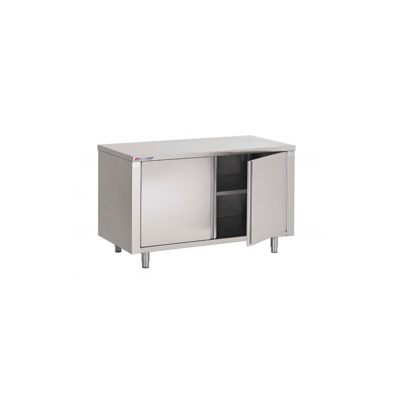 TABLE ARMOIRE INOX, PORTES BATTANTES, L 1400 MM / P 700 MM